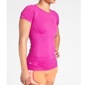 Athleta Fast Track Finish Short Sleeve Pink Top